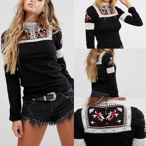 Free people cozy on up high neck peasant top s